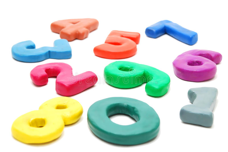 Random Digits. 3d Colored Digits Made of Plasticine Laing Random Isolated on White Background stock photography