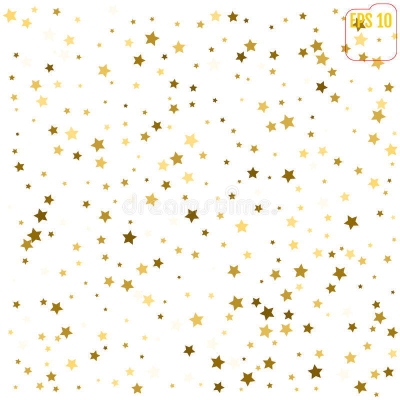 Random falling gold stars on white background. Glitter pattern f. Or banner, greeting card, Christmas and New Year card, invitation, postcard, paper packaging stock illustration