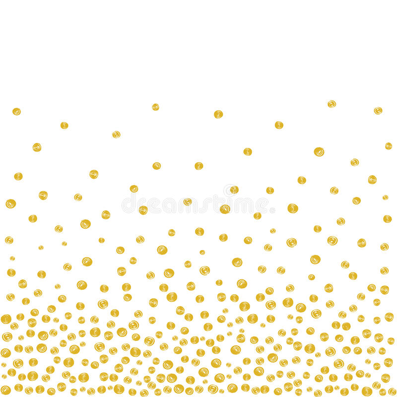 Random Falling Golden Dots Background. Abstract background of random falling golden dots on white. Hand drawn by markers confetti pattern. Suitable for textile royalty free illustration