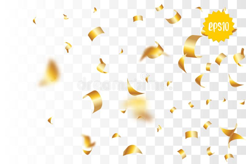 Golden holiday confetti random falling. Random falling golden glitter transparent sparkle background. Christmas banner, New Year greeting, invitation, postcard stock illustration
