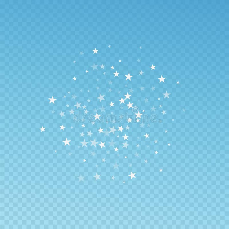 Random falling stars Christmas background. Subtle flying snow flakes and stars on blue transparent background. vector illustration