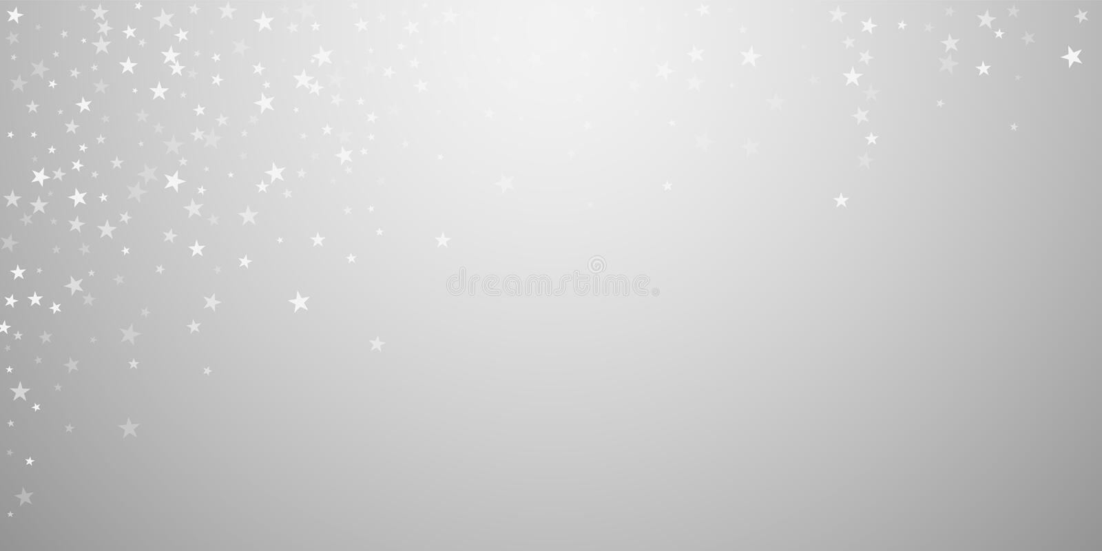 Random falling stars Christmas background. Subtle. Flying snow flakes and stars on light grey background. Authentic winter silver snowflake overlay template vector illustration