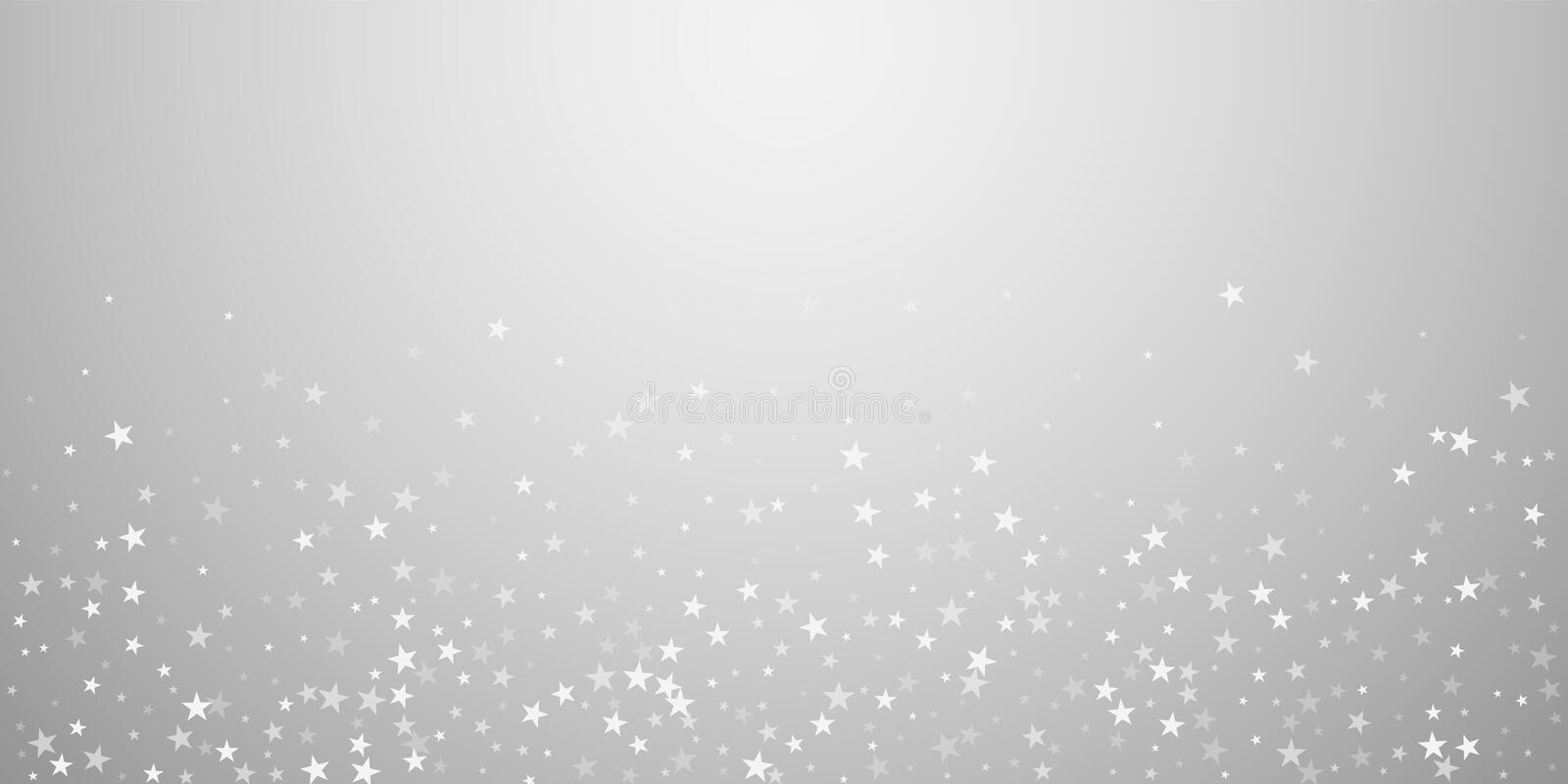 Random falling stars Christmas background. Subtle. Flying snow flakes and stars on light grey background. Beautiful winter silver snowflake overlay template royalty free illustration