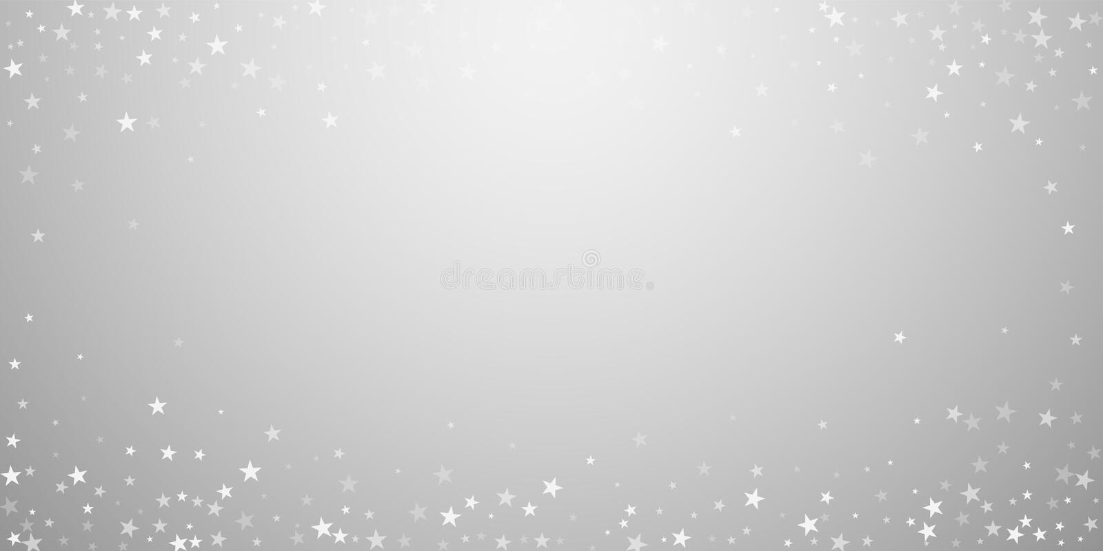 Random falling stars Christmas background. Subtle. Flying snow flakes and stars on light grey background. Bewitching winter silver snowflake overlay template stock illustration