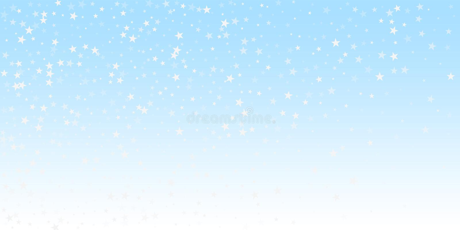Random falling stars Christmas background. Subtle. Flying snow flakes and stars on winter sky background. Beautiful winter silver snowflake overlay template stock illustration