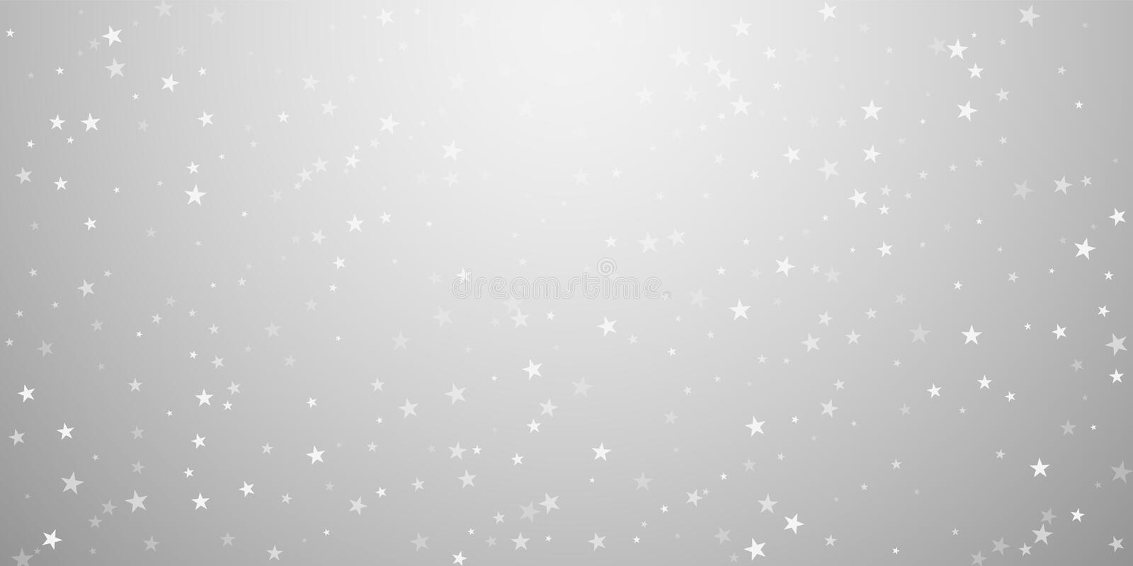 Random falling stars Christmas background. Subtle. Flying snow flakes and stars on light grey background. Awesome winter silver snowflake overlay template royalty free illustration
