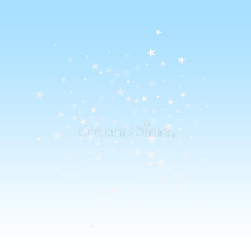 Random falling stars Christmas background. Subtle. Flying snow flakes and stars on winter sky background. Beauteous winter silver snowflake overlay template vector illustration