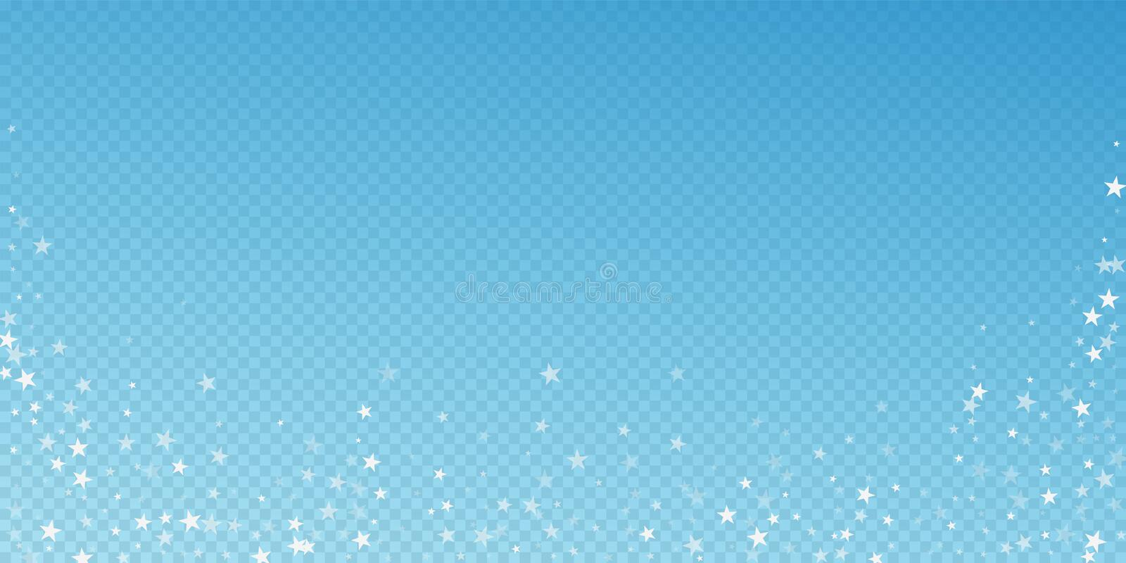 Random falling stars Christmas background. Subtle. Flying snow flakes and stars on blue transparent background. Authentic winter silver snowflake overlay stock illustration