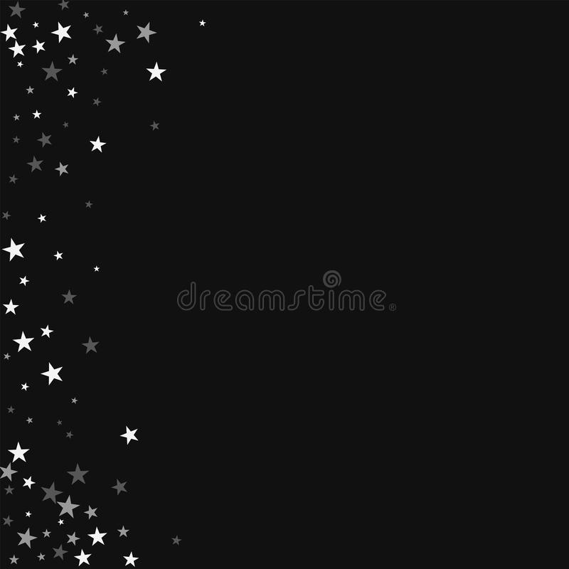 Random falling stars. Abstract left border with random falling stars on black background. Surprising Vector illustration vector illustration
