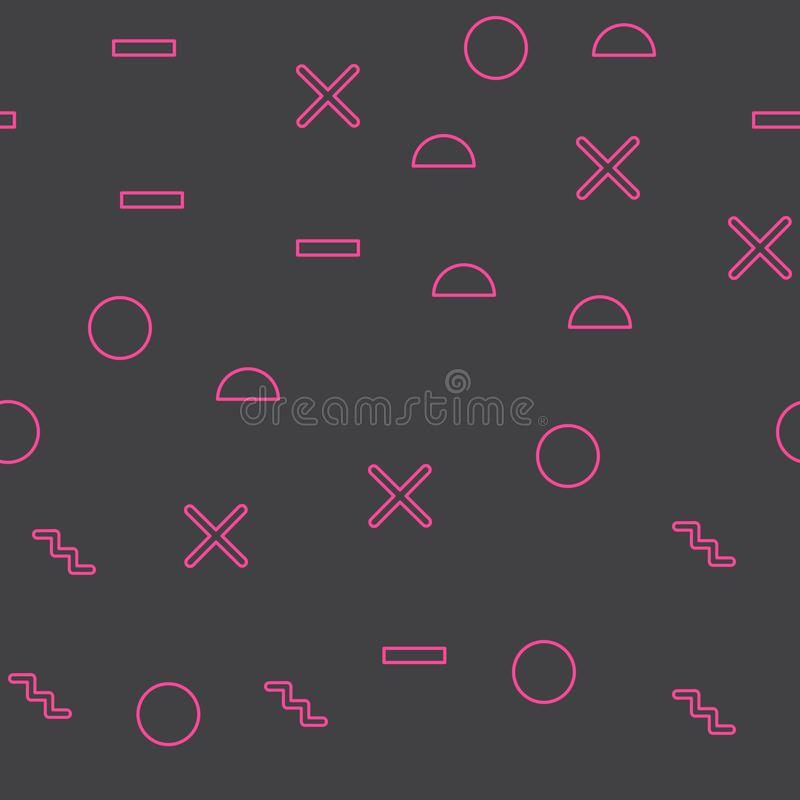 Random geometric shape pattern, abstract background in 80s, 90s retro style vector illustration