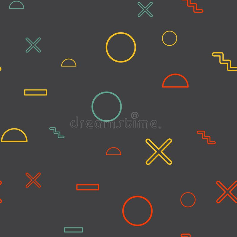 Random geometric shape pattern, abstract background in 80s, 90s retro style royalty free illustration