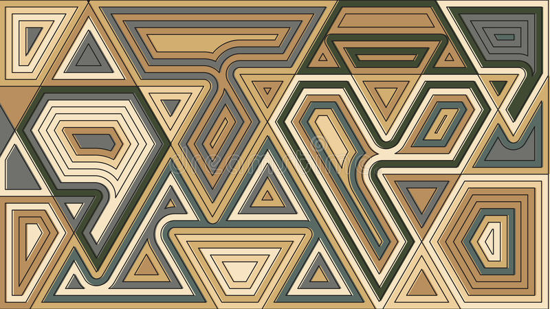 Random geometrical shapes wallpaper. Vector illustration. Abstract pattern design. Brown grey color creative figures decorative b. Ackdrop stock illustration