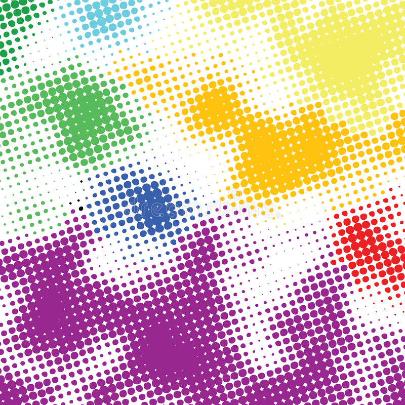 Random halftone colorful back. Ground on white stock illustration