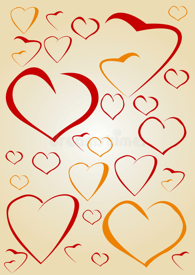 Random hearts. Red and orange Random hearts background stock illustration