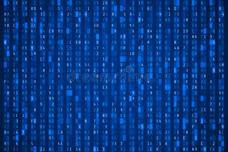 Random hexadecimal code. Abstract digital data element. Matrix background. Vector illustration royalty free illustration