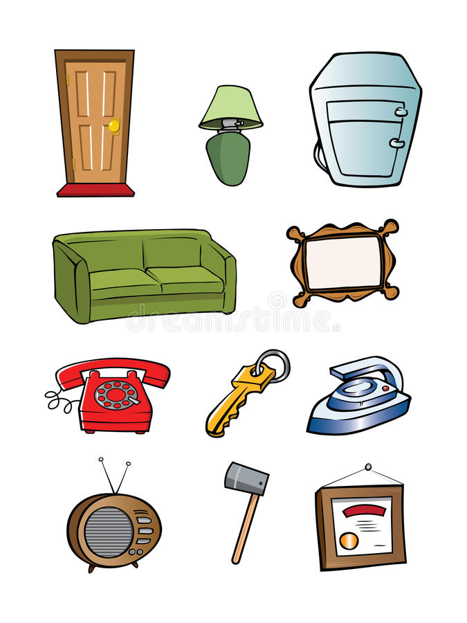 Random household objects collection vector illustration