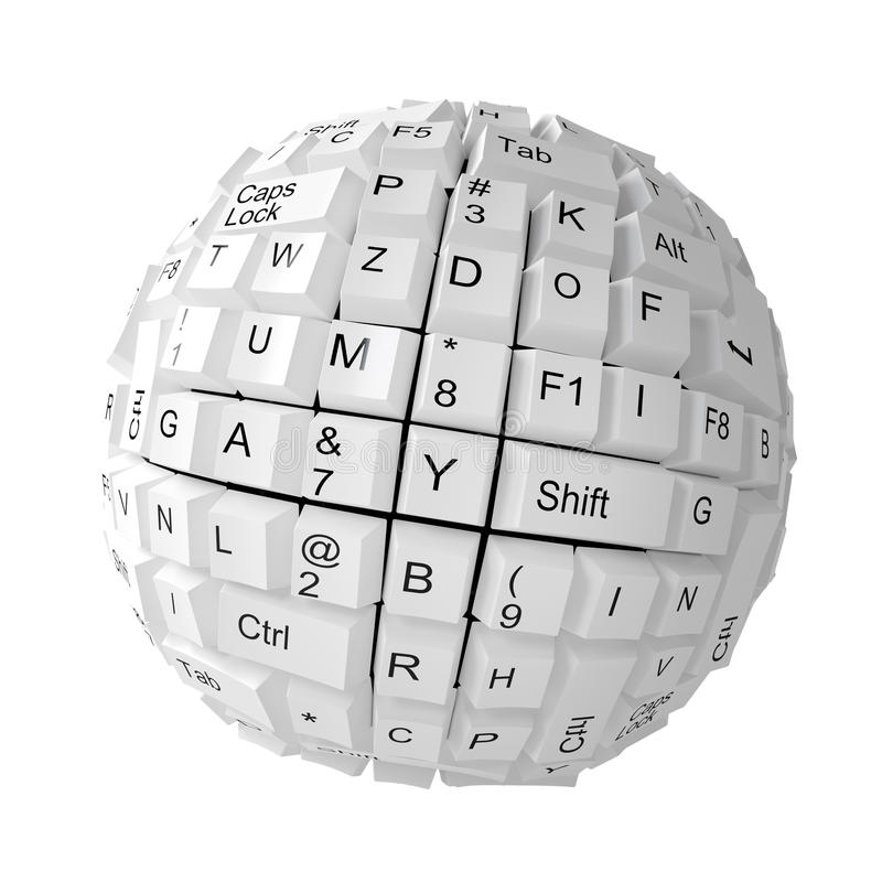 Random keyboard keys forming a sphere. On white background vector illustration