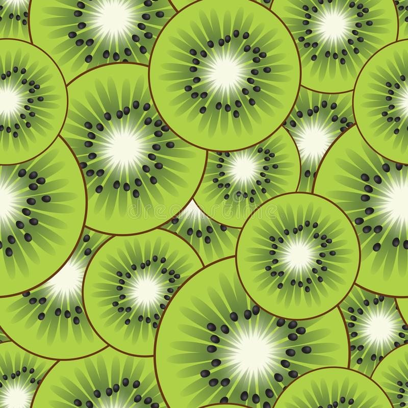 Random kiwi pattern. Cartoon kiwi slices. Random seamless vector pattern stock illustration