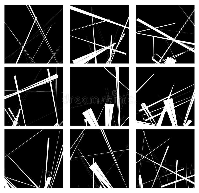 Random lines artistic element / pattern set. Non figural monochrome geometric compositions. Royalty free vector illustration vector illustration