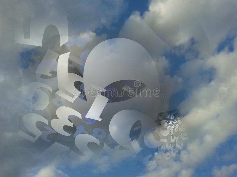 Random numbers generated cloud background illustration. Random numbers generated in a fluffy cloud background stock illustration