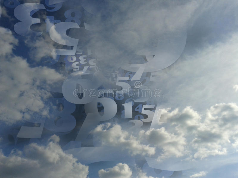 Random numbers generated cloud background illustration royalty free stock photos