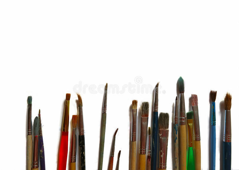 Random Paint Brushes Laid Out royalty free stock photo