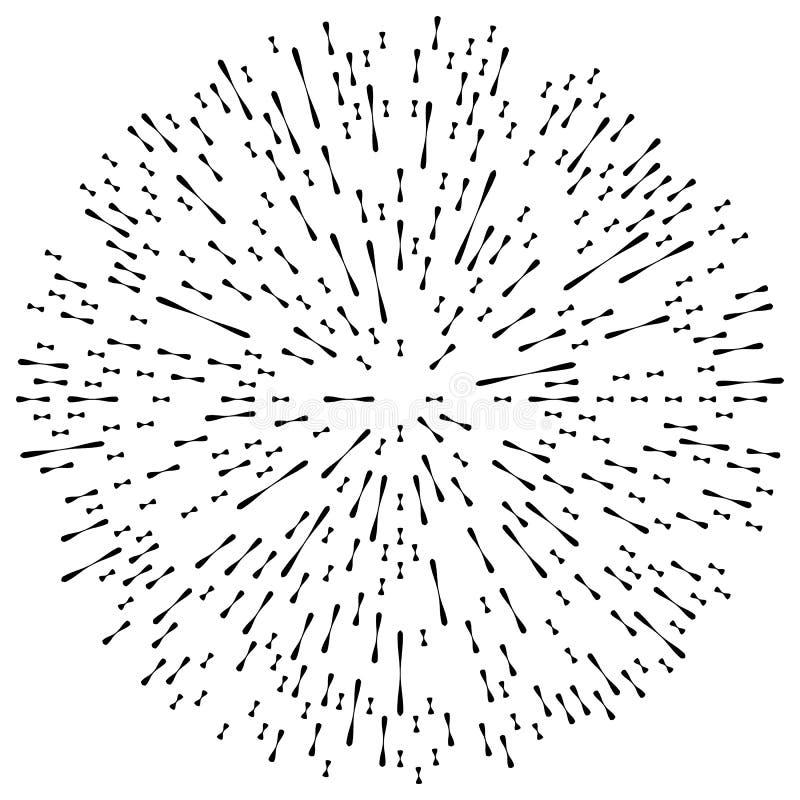 Random radial lines explosion effect. Radiating stripes circular stock illustration