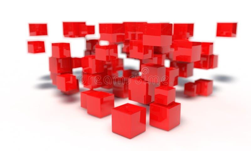 Random red cubes of background, 3d vector illustration