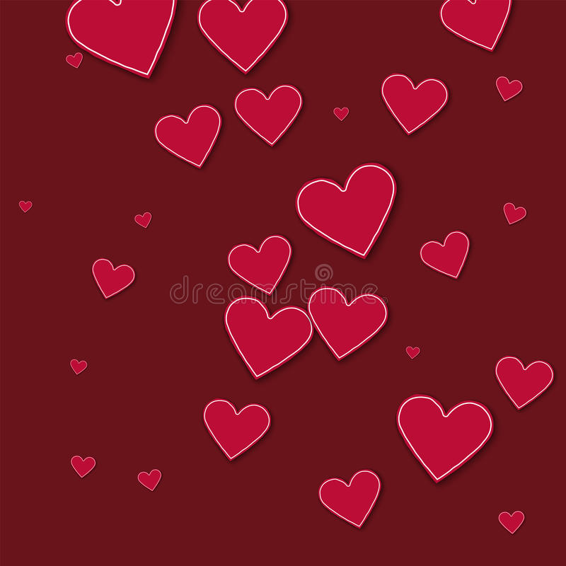Random red paper hearts. Chaotic scatter lines on wine red background. Vector illustration royalty free illustration