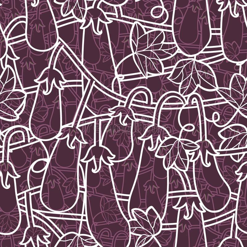 Random seamless pattern with vegetarian food - eggplants isolated on background for printing, wallpaper web site vector illustration