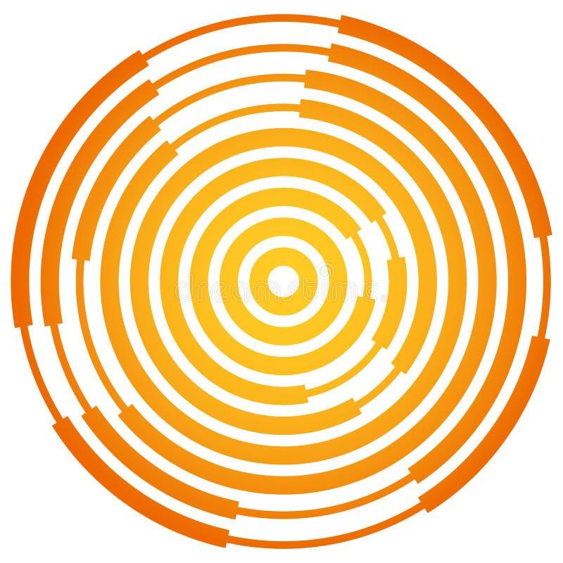 Random segmented circles / rings. Radial, radiating circular element. Royalty free vector illustration stock illustration