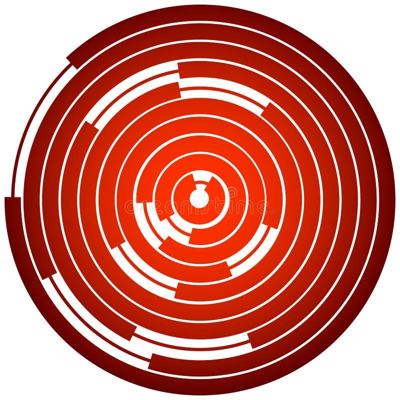 Random segmented circles / rings. Radial, radiating circular element. Royalty free vector illustration royalty free illustration