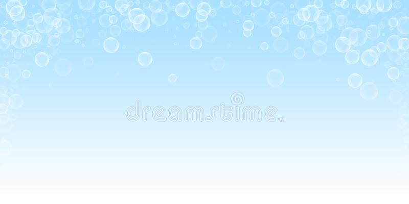 Random soap bubbles abstract background. Blowing b. Ubbles on night sky background. Artistic soapy foam overlay template. Good-looking vector illustration stock illustration
