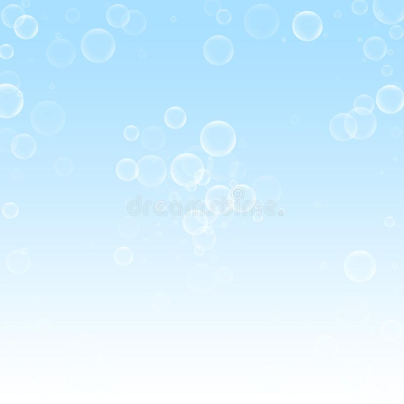 Random soap bubbles Christmas background. Subtle f. Lying snow flakes and stars on winter sky background. Authentic winter silver snowflake overlay template royalty free illustration