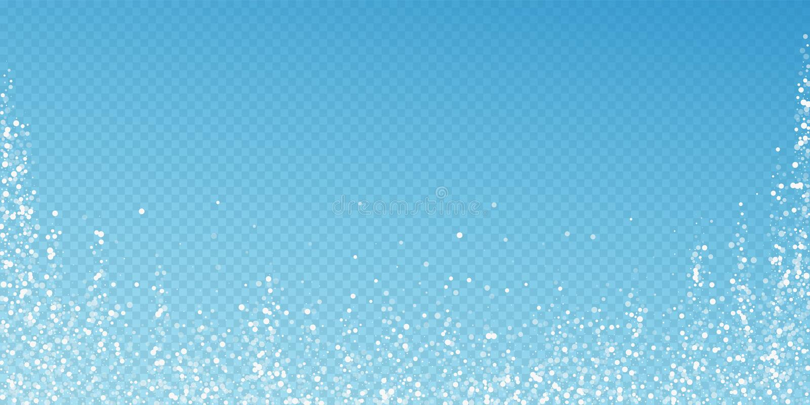 Random white dots Christmas background. Subtle fly. Ing snow flakes and stars on blue transparent background. Authentic winter silver snowflake overlay template stock illustration