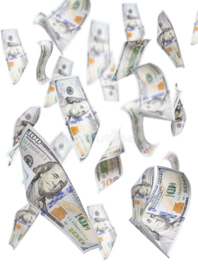 Randomly Falling One Hundred Dollar Bills on White. Randomly Falling One Hundred Dollar Bills Isolated on a White Background stock photos