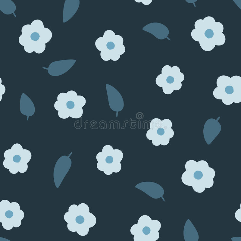 Randomly scattered flowers and leaves. Seamless floral pattern. vector illustration