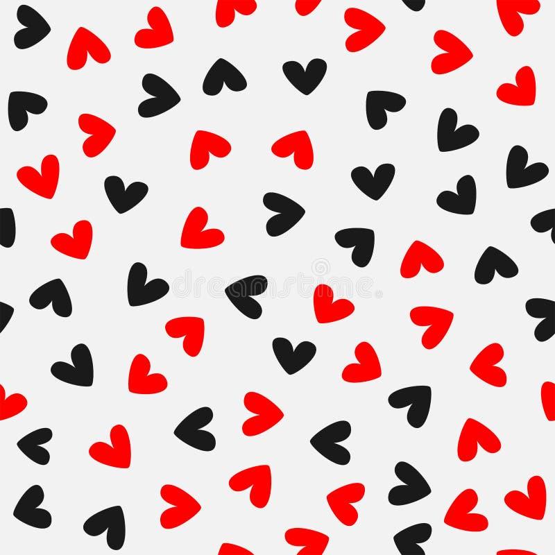 Randomly scattered hearts. Romantic seamless pattern. Red, black, gray. Vector illustration. stock illustration