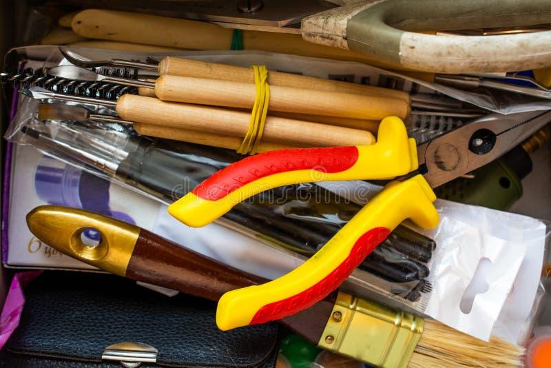 Randomly stacked art tools. Close up top view royalty free stock images