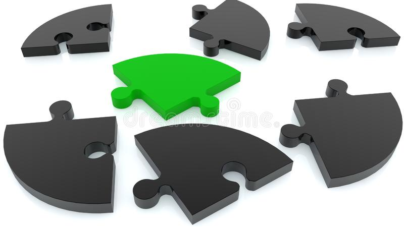 Randomly stacked puzzle in green and black on white stock photography