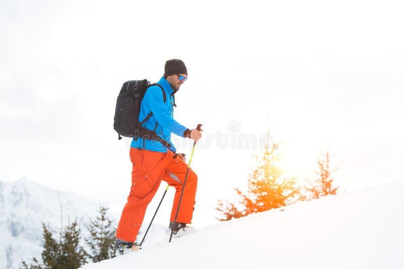 Randonnee-Skipisten allein in den Alpen lizenzfreie stockfotografie