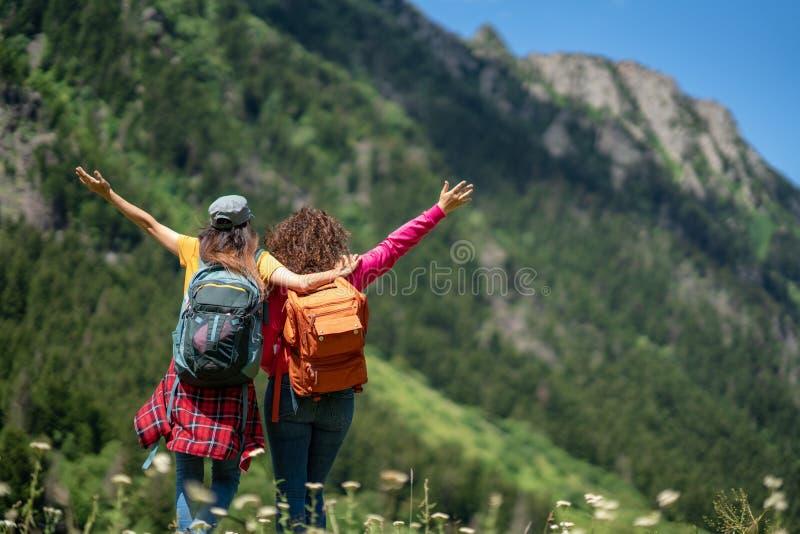Randonneur augmentant le concept de voyage de voyage avec des amis image libre de droits
