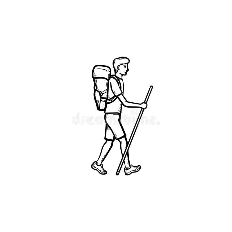 Randonneur avec l'icône tirée par la main de marche de griffonnage d'ensemble de sac à dos illustration libre de droits