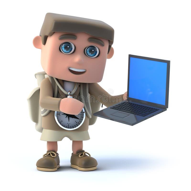 randonneur 3d et ordinateur portable illustration stock