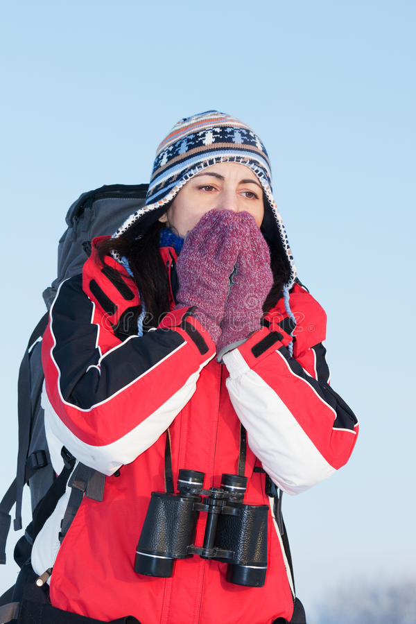 Randonneur sur la neige photographie stock