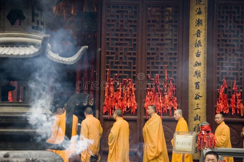 Rane pescarici buddisti a Schang-Hai immagine stock