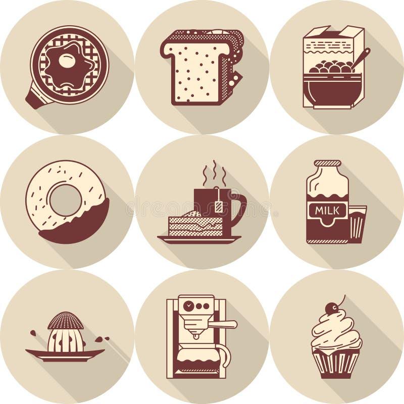 Download Ranek śniadaniowe Brown Ikony Ustawiać Ilustracji - Ilustracja złożonej z dinner, juiced: 57658224