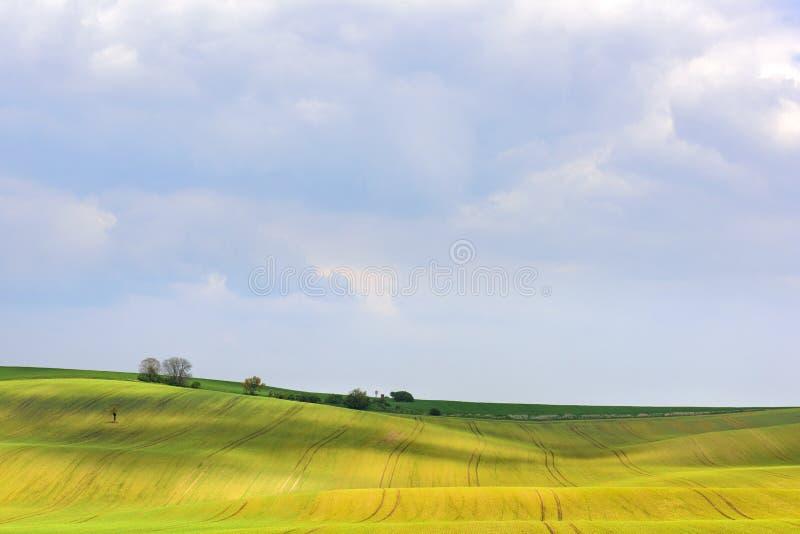 Ranek chmurnieje nad Morawskimi falistymi wzgórzami fotografia royalty free