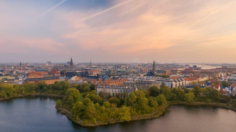 Ranek linia horyzontu Kopenhaga, Dani fotografia royalty free