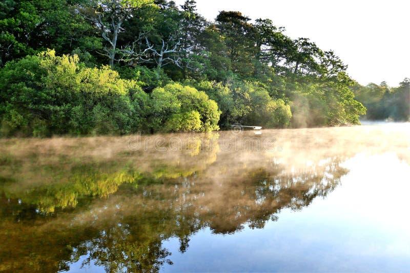 Ranek mgła i odbicia, Derwent woda, Cumbria obrazy stock